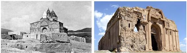 Adamakert (Bachkala), monastère Saint-Bartholomé en 1913, photo W. Bahman (archives RAA) et état actuel, photo Hrair Hawk